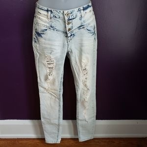 Rue21 // distressed, acid wash high waisted jeans